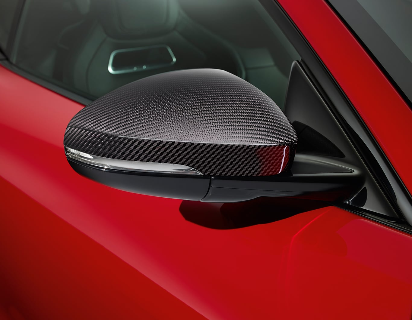 Silver Weave Carbon Fibre Mirror Cover, Left Side