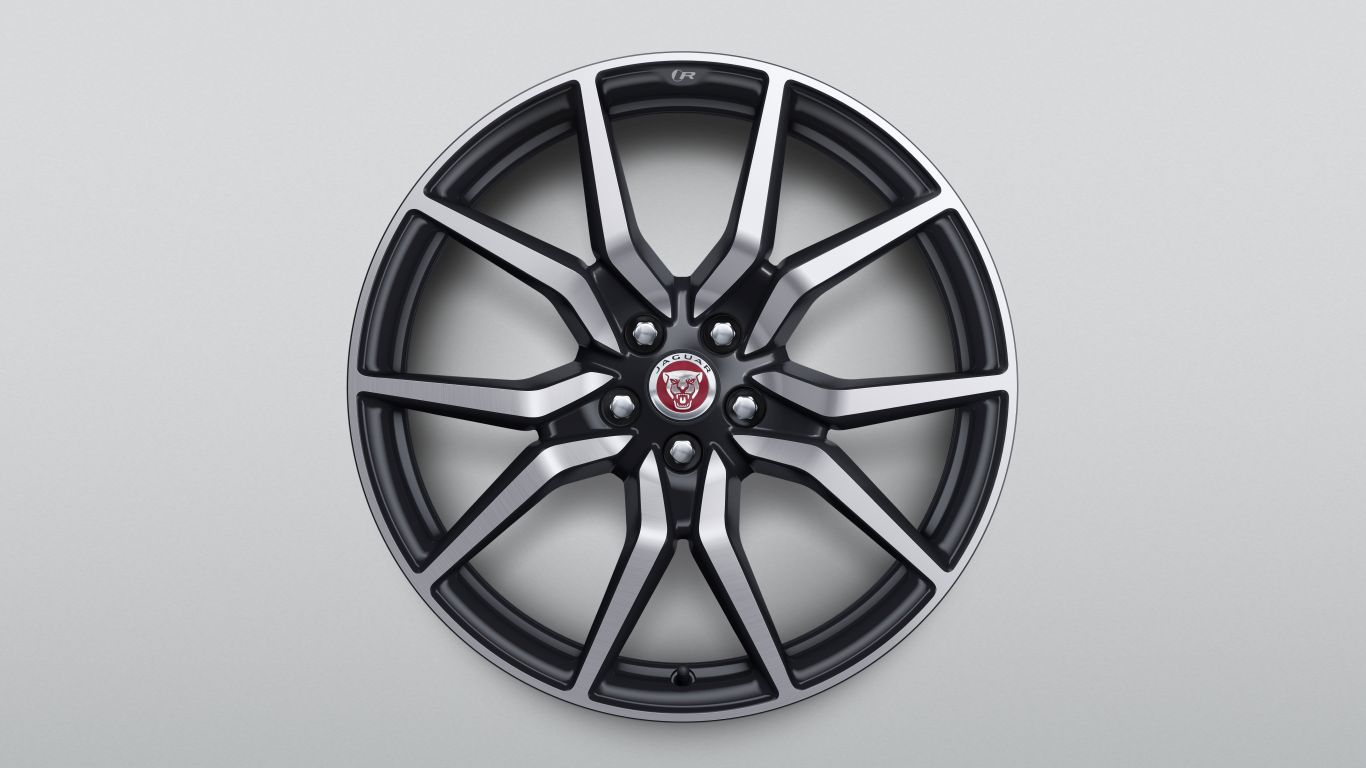"알로이 휠 - 20"" Style 1041, 10 spoke, Forged, Satin Black Diamond Turned finish, Rear"